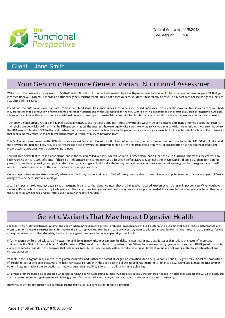 Your Genomic Resource Genetic Variant Nutritional Assessment